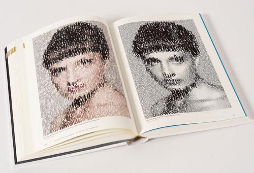 Book opened on a page with a code-generated portrait