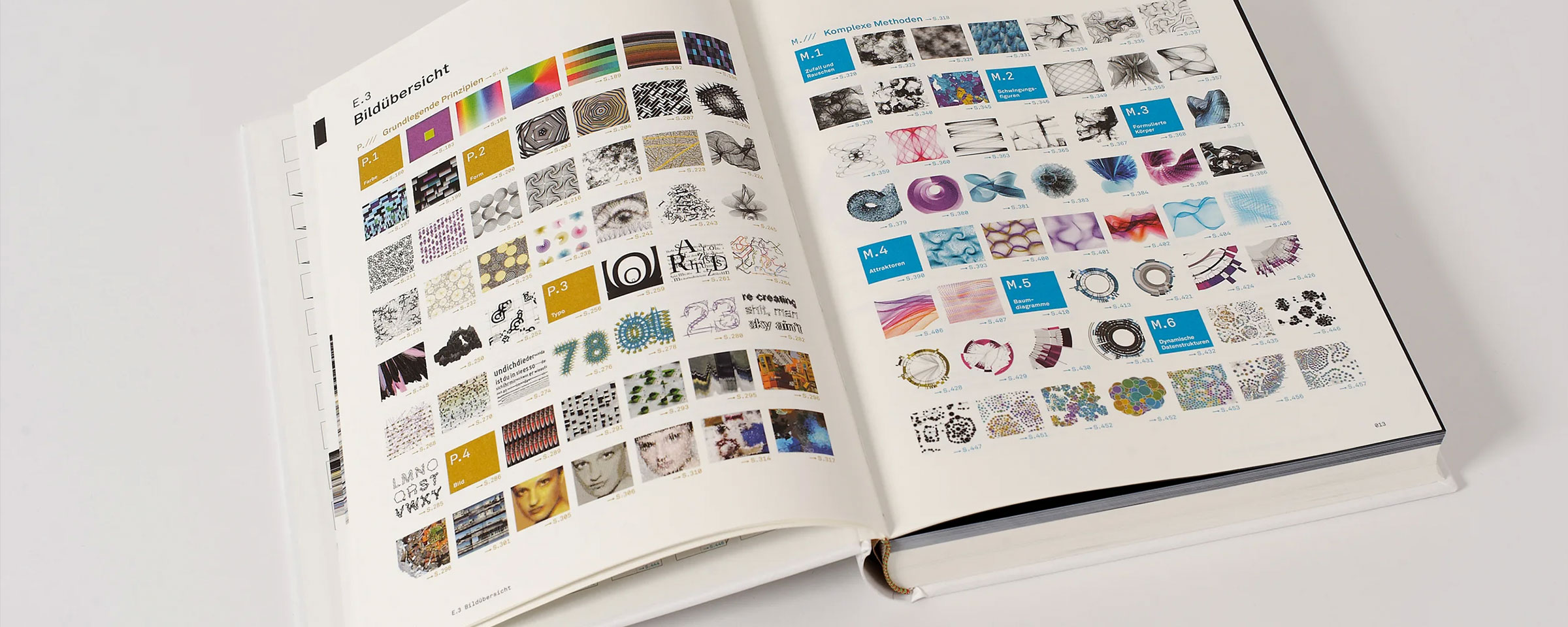 Generative Gestaltung book with the overview page open