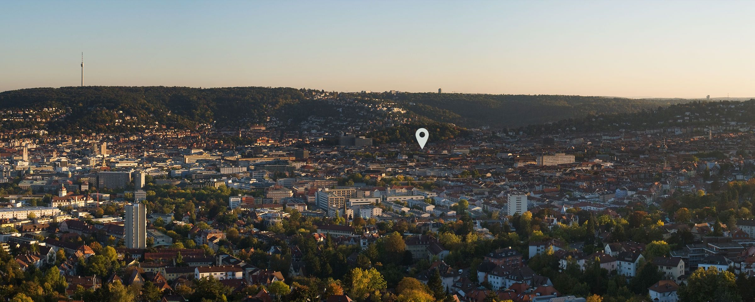 View of Stuttgart with a pin on the location of Intuity