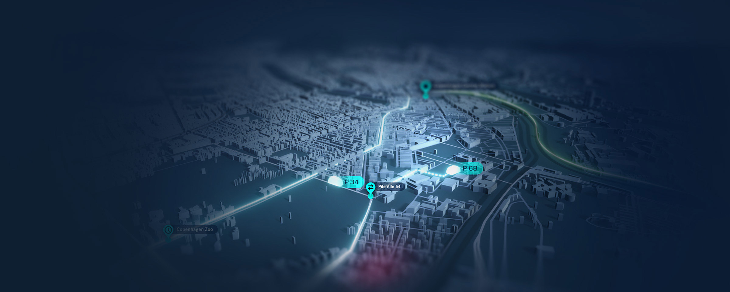 Blue 3D city map with routes and destinations